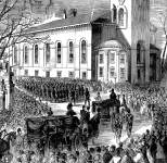 Bodies of fallen Sixth Massachusetts infantrymen killed in Baltimore returned to Boston, May 1, 1861, detail