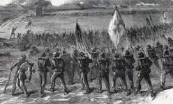 Fifth Corps in action at Peeble's Farm, Virginia, September 30, 1864, artist's impression, detail