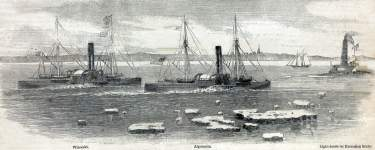 "Naval Test, race between ""Winooski"" and ""Algoquin,"" New York Harbor, February 13, 1866, artist's impression"