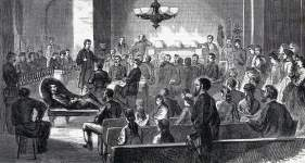 Trial of Captain Henry Wirz, Court of Claims, Washington, D.C., October 1865, artist's impression, detail