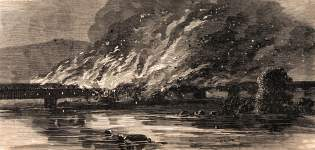 Burning of the Wrightsville-Columbia Bridge on the Susquehanna, Pennsylvania, June 28, 1863, artist's impression, zoomable image