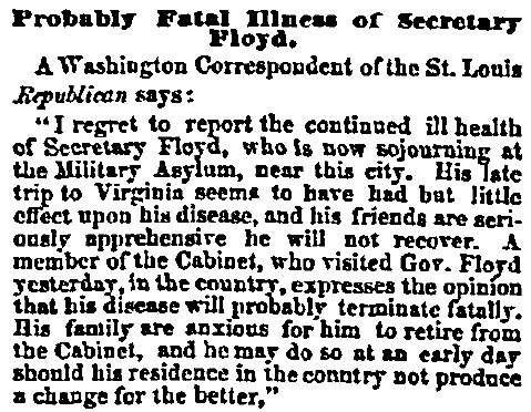 """Probably Fatal Illness of Secretary Floyd,"" Chicago (IL) Press and Tribune, July 6, 1859"