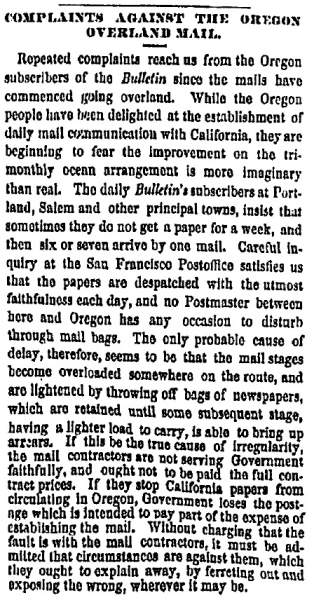"""Complaints Against the Oregon Overland Mail,"" San Francisco (CA) Evening Bulletin, November 30, 1860"
