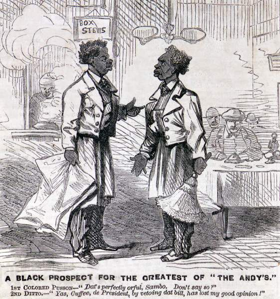 """A Black Prospect for the Greatest of ""the Andy's,"" cartoon, Frank Leslie's Illustrated, April 21, 1866"