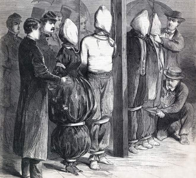 Execution of the Lincoln Conspiracy Plotters, Washington, D.C., July 7, 1865, artist's impression, detail