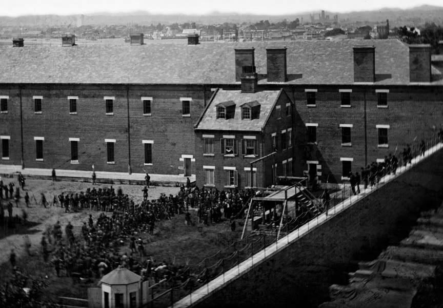 Execution of the Lincoln Conspiracy Plotters, Washington, D.C., July 7, 1865, view of the prison yard and gallows, detail