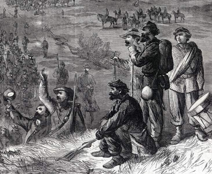 The Union Army on the march in the Shenandoah Valley of Virginia, October, 1864, artist's impression, further detail