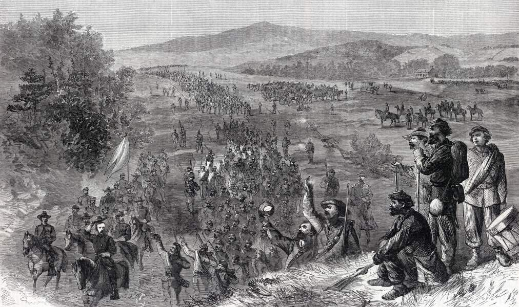 The Union Army on the march in the Shenandoah Valley of Virginia, October, 1864, artist's impression, zoomable image