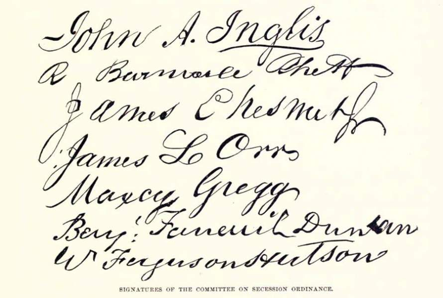 Committee signatures on the South Carolina Ordinance of Secession, December 20, 1860