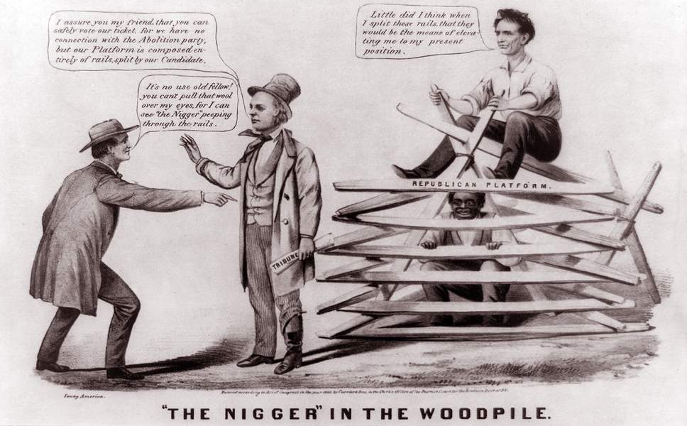 """...in the Woodpile,"" cartoon, 1860, zoomable image"