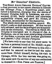 """Mr. Douglas' Chattels,"" Chicago (IL) Press and Tribune, December 3, 1858"