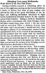 """Sleeping Cars upon Railroads,"" New York Times, December 31, 1858"