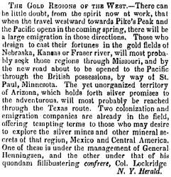 """The Gold Regions of the West,"" Charleston (SC) Mercury, February 24, 1859"
