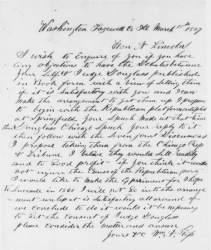 William A. Ross to Abraham Lincoln, March 18, 1859 (Page 1)