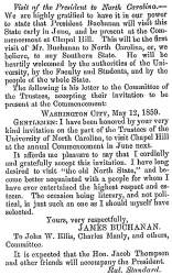 """Visit of the President to North Carolina,"" Fayetteville (NC) Observer, May 19, 1859"