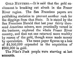 """Gold Hunters,"" Fayetteville (NC) Observer, May 23, 1859"