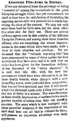 """American Fire Arms in Europe,"" New York Times, May 26, 1859"