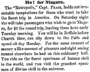 """Ho! for Niagara,"" Cleveland (OH) Herald, June 24, 1859"