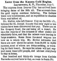 """Letter from the Kansas Gold Region,"" New York Times, July 8, 1859"