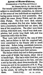 """Arrest of Horse-Thieves,"" Chicago (IL) Press and Tribune, July 19, 1859"