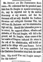 """Mr. Douglas and His Forthcoming Manifesto,"" New York Herald, July 31, 1859"
