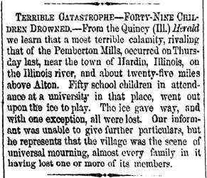 """Terrible Catastrophe,"" Cleveland (OH) Herald, February 27, 1860"