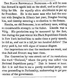 """The Black Republican Nominees,"" Fayetteville (NC) Observer, May 21, 1860"