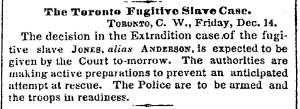 """The Toronto Fugitive Slave Case,"" New York Times, December 15, 1860"