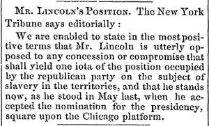 """Mr. Lincoln's Position,"" Lowell (MA) Citizen & News, December 24, 1860"