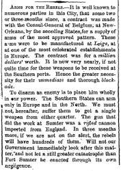 """Arms for the Rebels,"" New York Times, May 1, 1861"