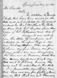 Ozias Mather Hatch to Abraham Lincoln, August 17, 1861 (Page 1)