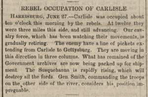 """Rebel Occupation of Carlisle,"" Washington (DC) National Intelligencer, June 30, 1863"