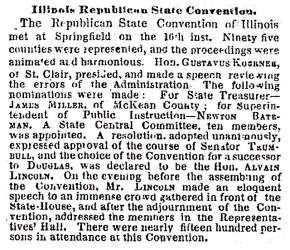 """Illinois Republican State Convention,"" New York Times, June 21, 1858"