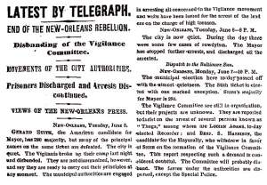 """End of the New Orleans Rebellion,"" New York Times, June 9, 1858"
