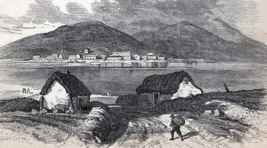 Knightstown, Ireland, terminus of the Atlantic Telegraph Cable, June 1865, artist's impression
