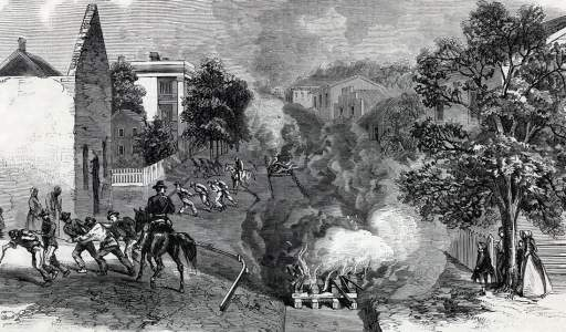 Destruction of the Macon Railway by Union Infantry, Jonesboro, Georgia, September 1864, artist's impression, detail