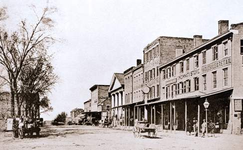 Quincy, Illinois, 1858, showing Fifth Street and site of the Lincoln-Douglas Debate