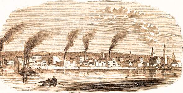 Rock Island City, Illinois, 1861, artist's impression
